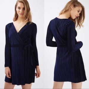 Topshop wrap front pleated dress